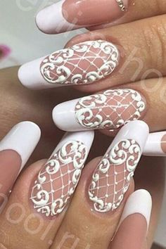 wedding nails ideas lace